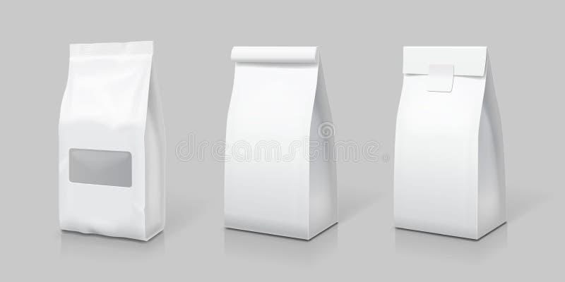 De witte lege reeks van het theezakjepakket vector illustratie