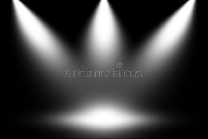 De witte lichte achtergrond van het schijnwerperstadium vector illustratie