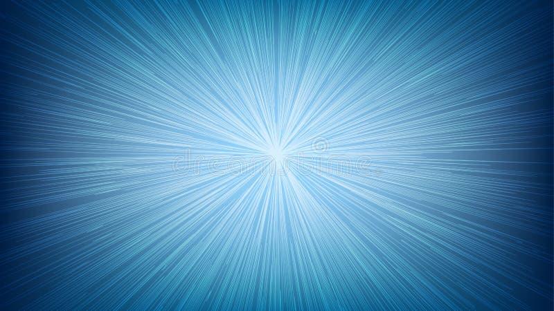 De witte Lichte Uitbarsting Ray van de Snelheidslijn op Blauwe Achtergrond vector illustratie