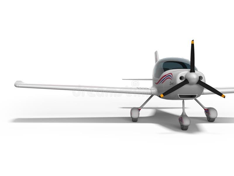 De witte lichte vliegtuigen voor twee 3d passagiers geven op witte achtergrond met schaduw terug royalty-vrije illustratie