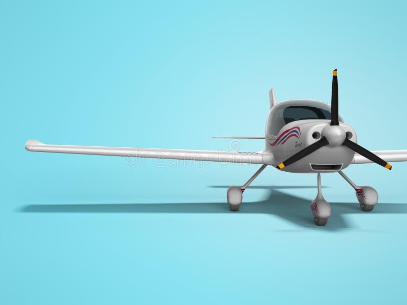 De witte lichte vliegtuigen voor twee 3d passagiers geven op blauwe achtergrond met schaduw terug vector illustratie
