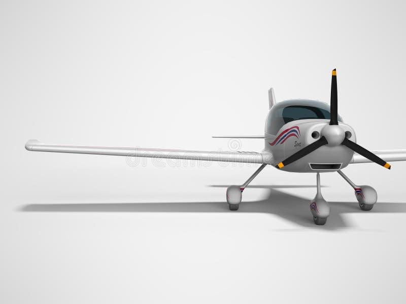 De witte lichte vliegtuigen voor twee 3d passagiers geven op grijze achtergrond met schaduw terug stock illustratie