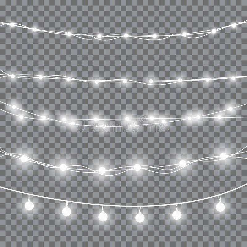 De witte lichten van Kerstmis vector illustratie