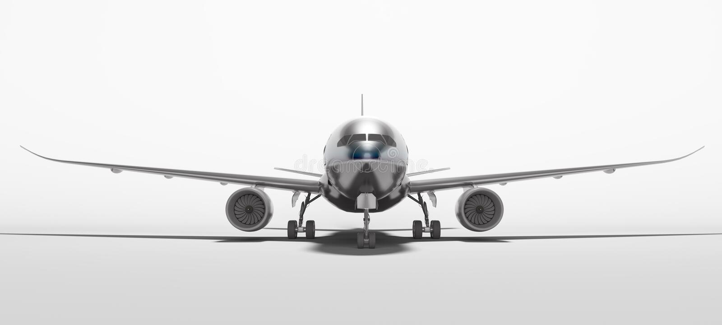 De witte luchtvaart isoleerde 3d teruggeeft vliegtuig op witte achtergrond met schaduw stock illustratie