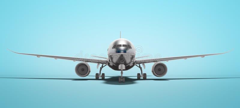 De witte luchtvaart isoleerde 3d teruggeeft vliegtuig op blauwe achtergrond met schaduw vector illustratie