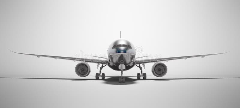 De witte luchtvaart isoleerde 3d teruggeeft vliegtuig op grijze achtergrond met schaduw stock illustratie