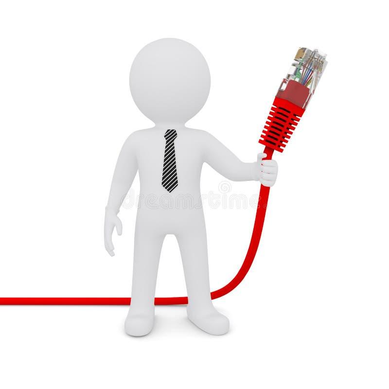De witte man die een rode netwerkkabel houdt stock illustratie