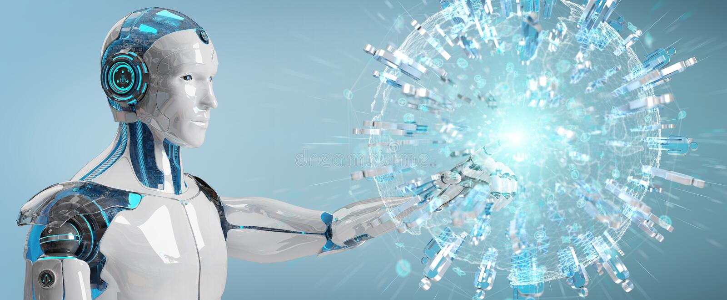 De witte mannelijke robot die digitale bol gebruiken om 3D mensen te verbinden geeft terug royalty-vrije illustratie