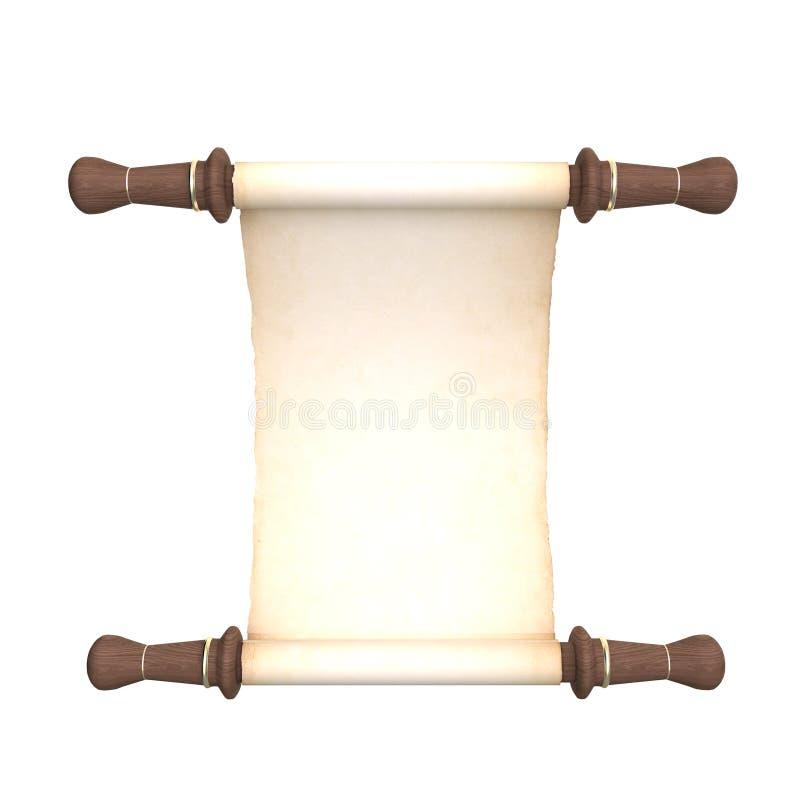 De witte Middeleeuwse Rol van het Perkament stock illustratie