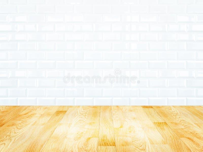 De witte muur van de baksteentegel en houten parketvloer stock fotografie