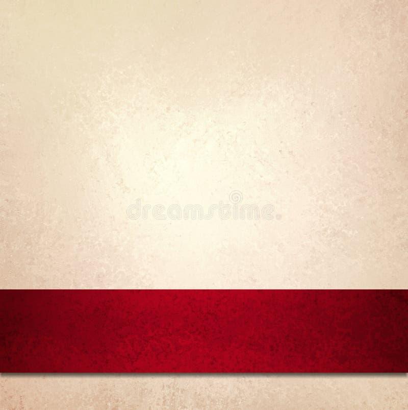 De witte omslag van het achtergrond rode Kerstmislint royalty-vrije illustratie