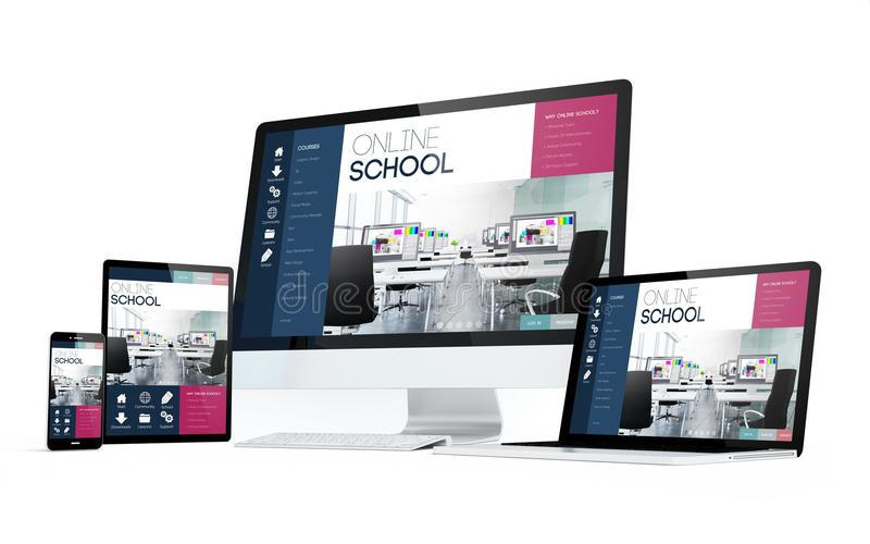 de witte online school van mobiliteitsapparaten royalty-vrije stock foto