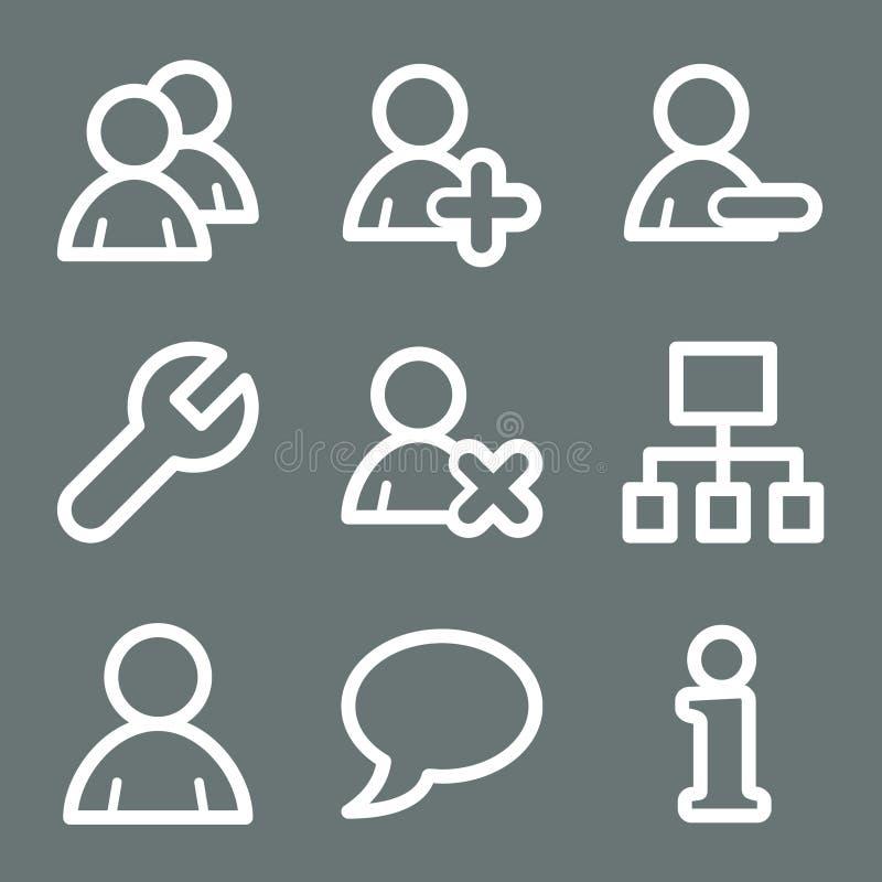De witte pictogrammen van het gebruikersWeb vector illustratie