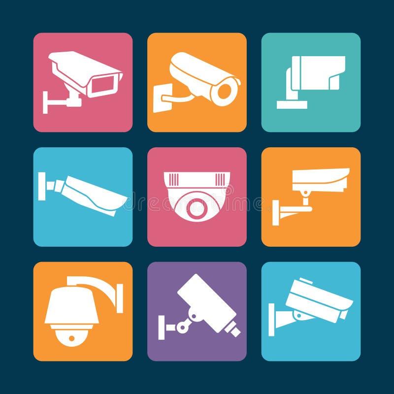 De witte pictogrammen van veiligheidscamera's op kleurrijke achtergrond stock illustratie