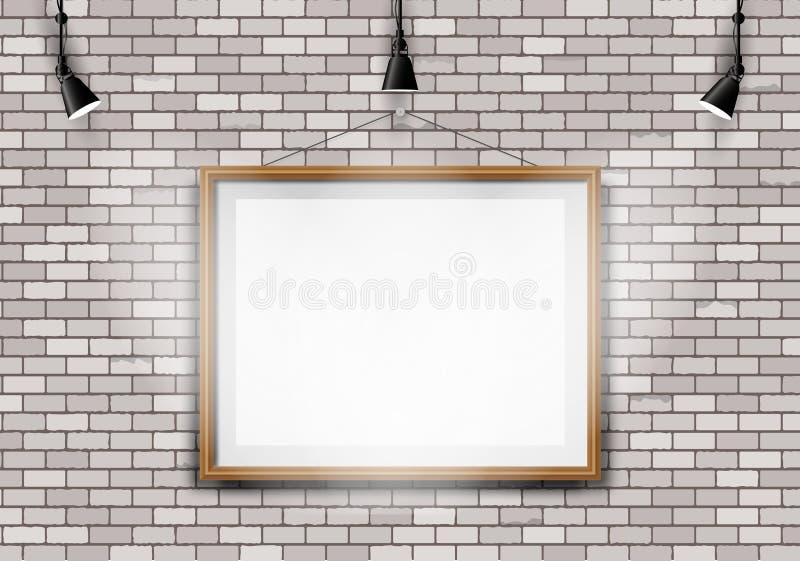 De witte projector van het bakstenen muurbeeld stock illustratie