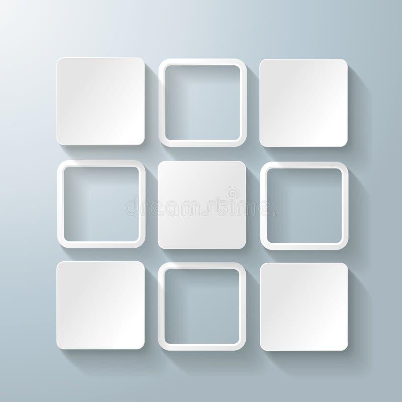 De witte Rechthoekenvierkanten ontwerpen 5 Opties vector illustratie