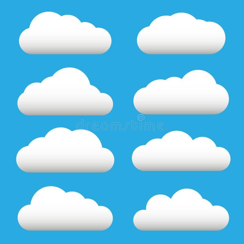 De witte reeks van het wolkenpictogram Pluizige wolken De bewolkte symbolen van het weerteken Vlak ontwerpweb, app decoratieeleme vector illustratie