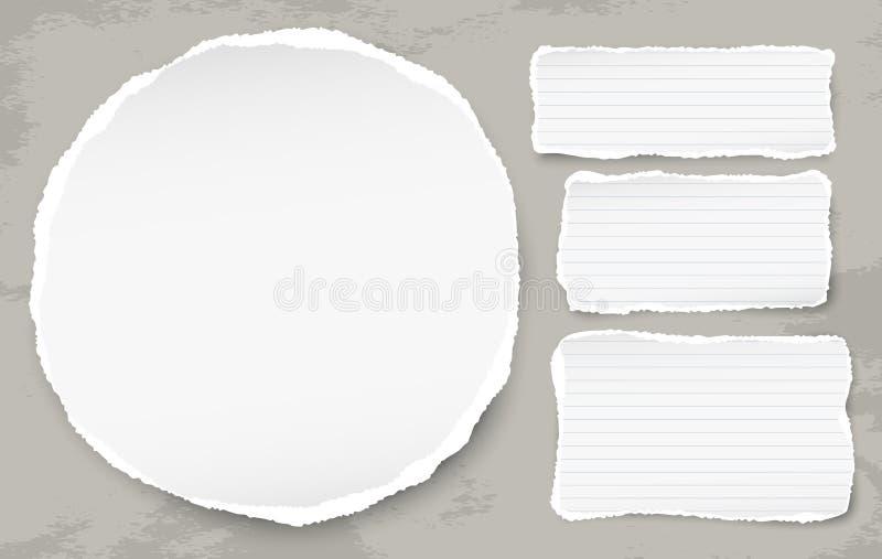 De witte ronde scheurde document met gescheurde notastroken voor tekst of bericht op grunge bevlekte achtergrond Vector illustrat royalty-vrije illustratie