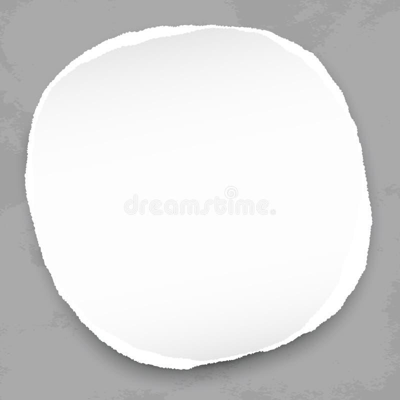 De witte ronde scheurde document met schaduw voor tekst of bericht op donkere grijze achtergrond Vector illustratie stock illustratie