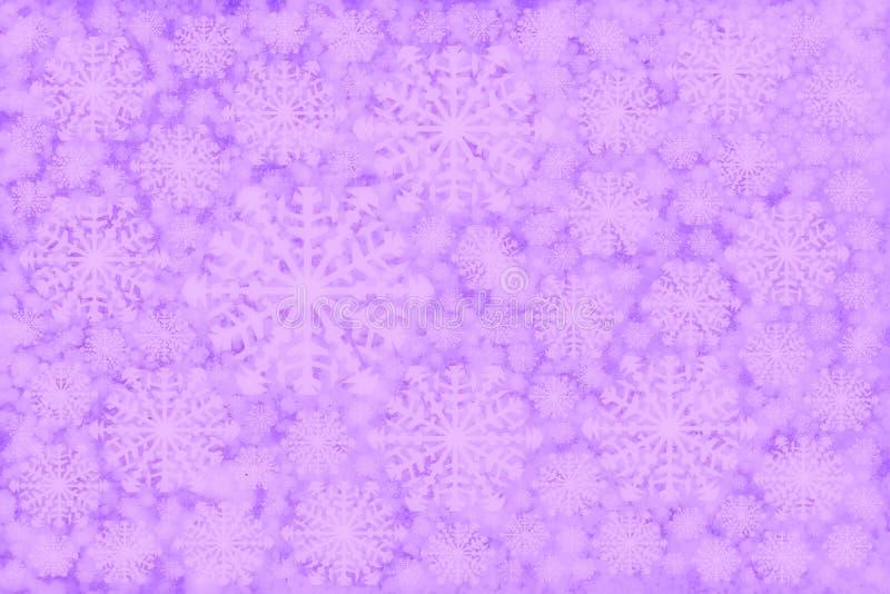 de witte roze purpere achtergrond van de sneeuwvlokkenwinter stock foto