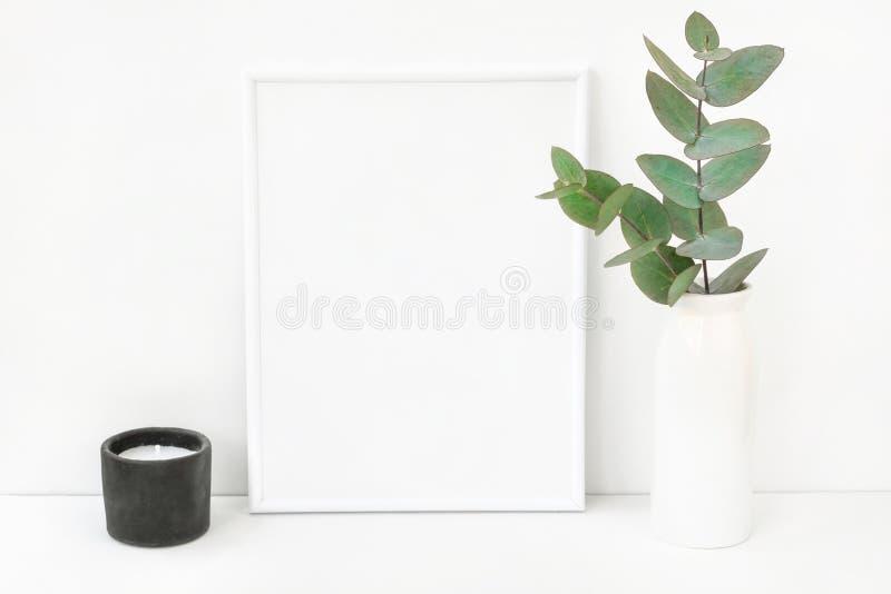 De witte samenstelling van het kadermodel met takken van groene zilveren dollareucalyptus in ceramische vaas zwarte kaars op lijs stock foto