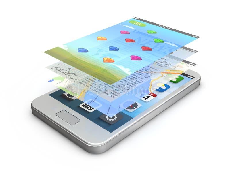 De witte smartphoneapp schermen (spel, nieuws, gps) vector illustratie