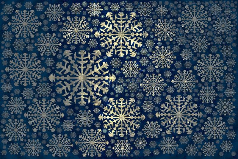 de witte sneeuwvlokkenwinter backgroundGolden fabelachtige stof vector illustratie