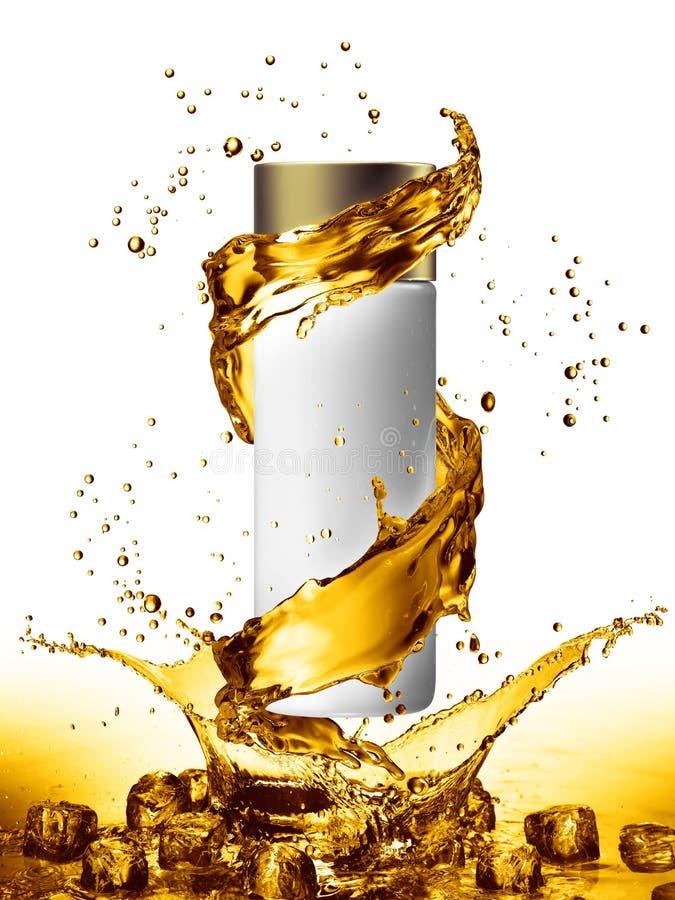 De witte spot van de roomfles omhoog van de gouden kleur van de waterplons vector illustratie
