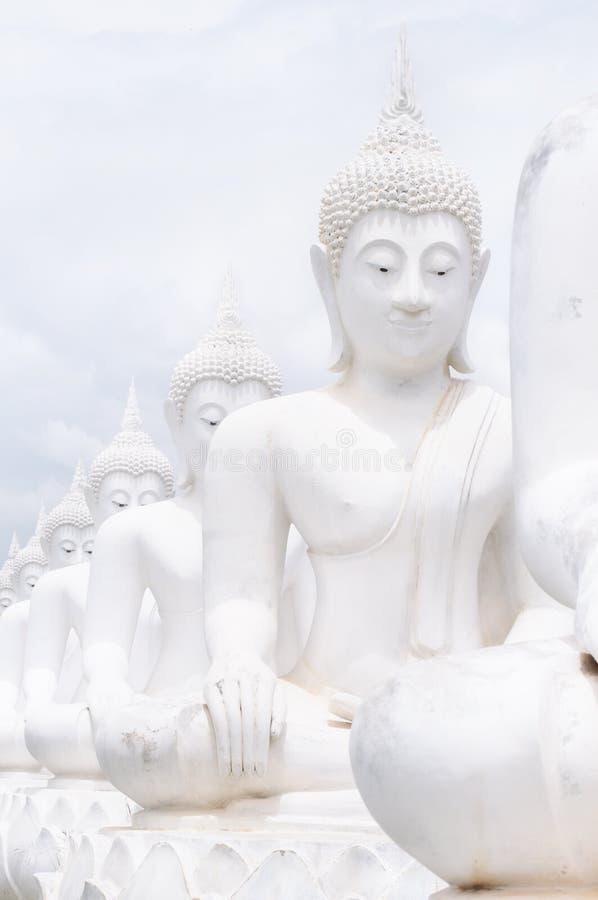 De witte standbeelden van Boedha royalty-vrije stock afbeelding