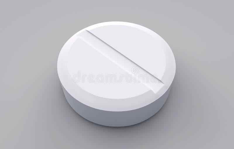 De witte tablet op een grijze achtergrond royalty-vrije illustratie