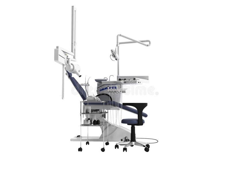 De witte tandstoel met blauwe tussenvoegsels met licht en de functionaliteit voor tand 3d behandeling geven op witte achtergrond  stock illustratie