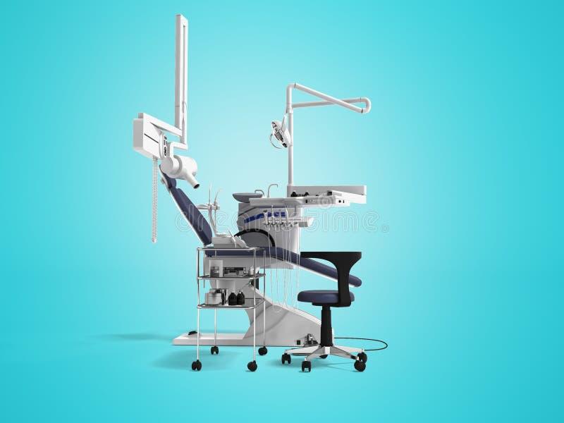 De witte tandstoel met blauwe tussenvoegsels met licht en de functionaliteit voor tand 3d behandeling geven op blauwe achtergrond stock illustratie