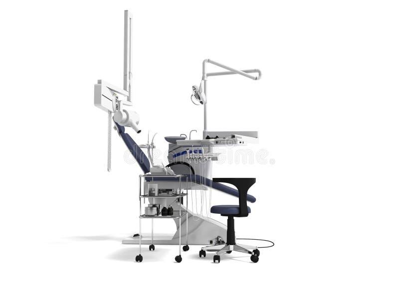De witte tandstoel met blauwe tussenvoegsels met licht en de functionaliteit voor tand 3d behandeling geven op witte achtergrond  royalty-vrije illustratie