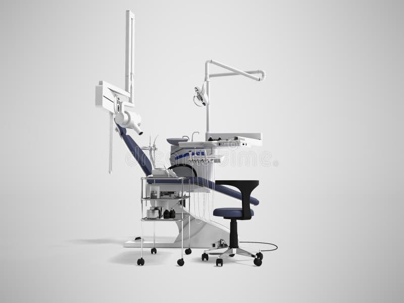 De witte tandstoel met blauwe tussenvoegsels met licht en de functionaliteit voor tand 3d behandeling geven op grijze achtergrond royalty-vrije illustratie