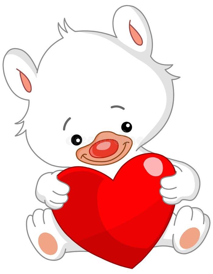 De witte teddybeer van de valentijnskaart royalty-vrije illustratie