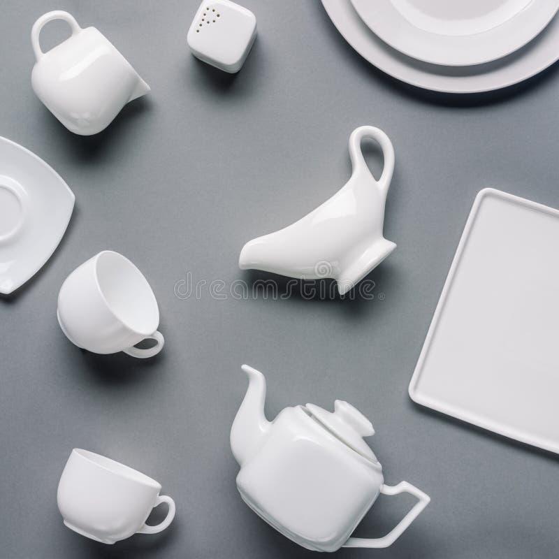 De witte thee-reeks van China royalty-vrije stock afbeeldingen