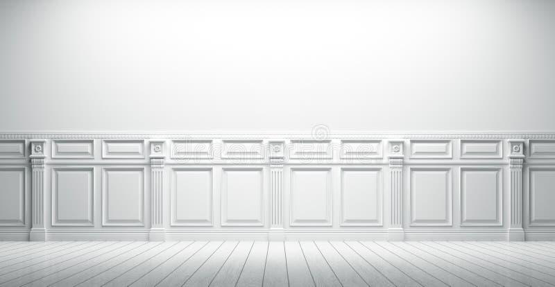 De witte uitstekende binnenlandse 3d achtergrond geeft terug stock illustratie