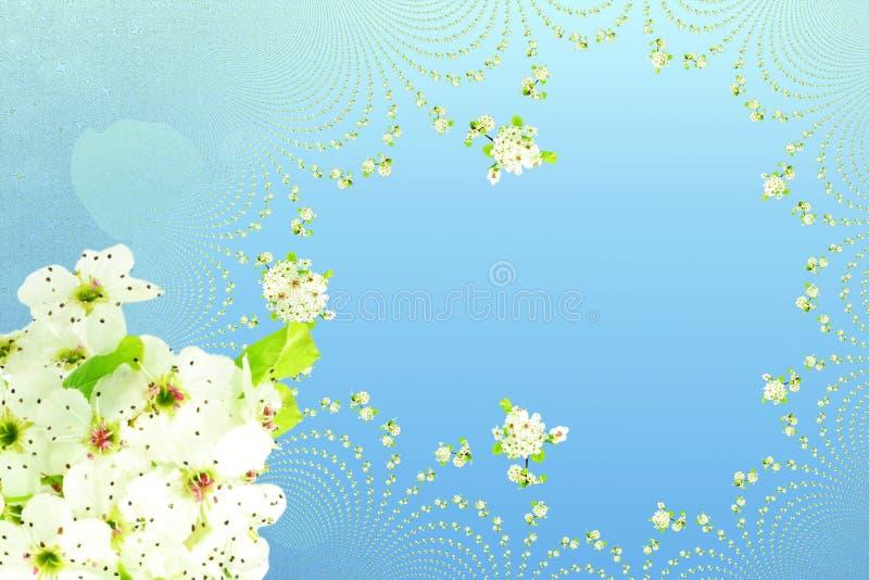 De witte van de de textuurhemel van de de lentebloem blauwe achtergrond vector illustratie