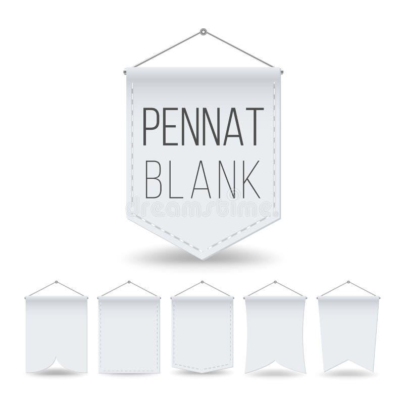 De witte Vastgestelde Vector van het Wimpelmalplaatje De lege Realistische Spot van Wimpelsbanners omhoog Verschillende vormen Ge royalty-vrije illustratie