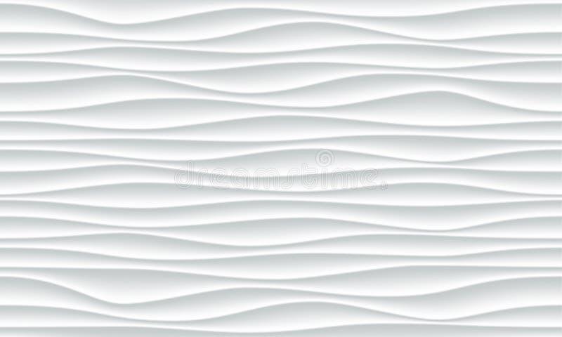 De witte vector abstracte 3D achtergrond van het golfpatroon vector illustratie