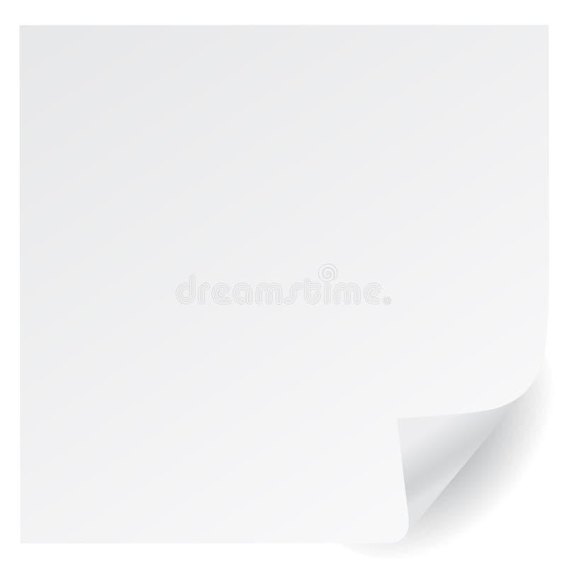De witte vector van de paginahoek royalty-vrije illustratie
