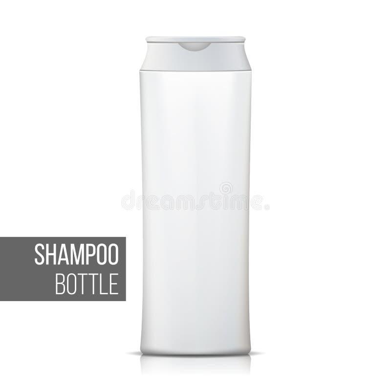 De witte Vector van de Shampoofles Lege Realistische Fles Kosmetische Containerpakketten Geïsoleerd op Witte Illustratie stock illustratie
