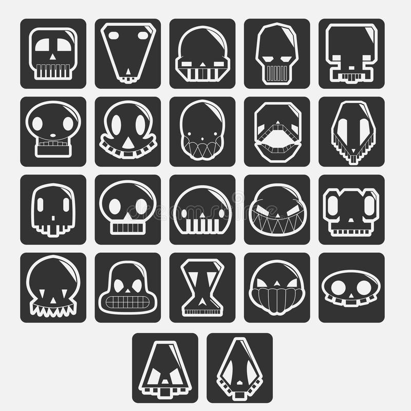 De witte vectorreeks van het schedelsbeeldverhaal vector illustratie
