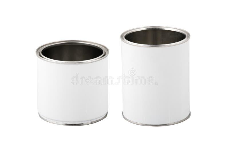 De witte verf kan zonder etiket dat op wit wordt geïsoleerd stock fotografie