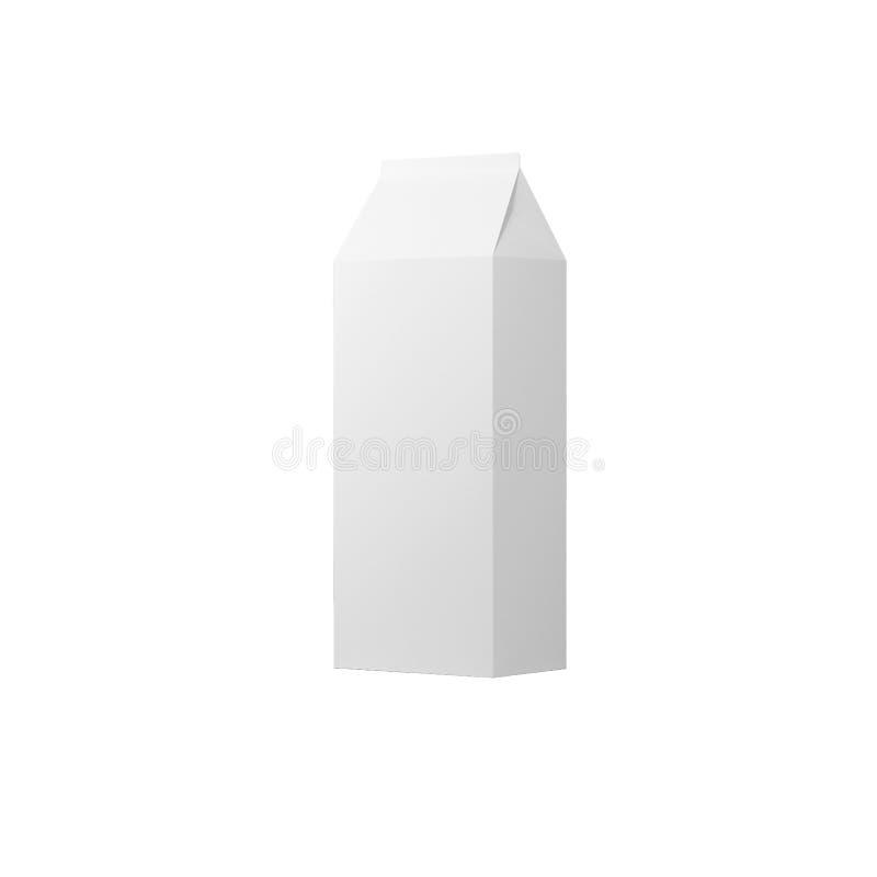 De witte verpakking voor melk, sap op een witte achtergrond, mocap, 3d tetra-pak, geeft terug royalty-vrije illustratie