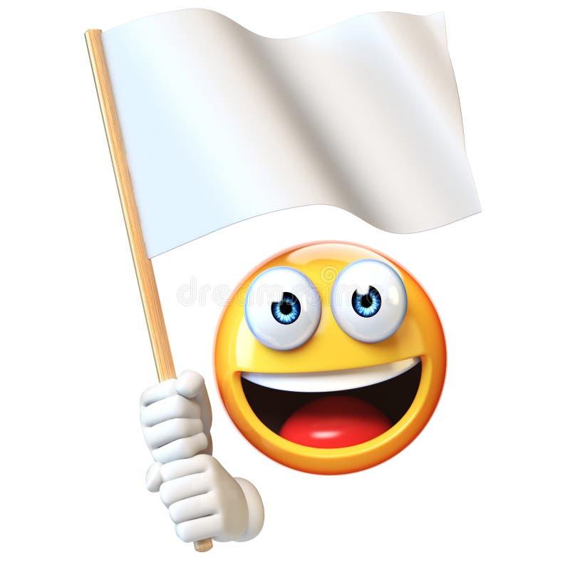De witte vlag van de Emojiholding, emoticon golvende lege vlag met exemplaar het ruimte 3d teruggeven royalty-vrije illustratie