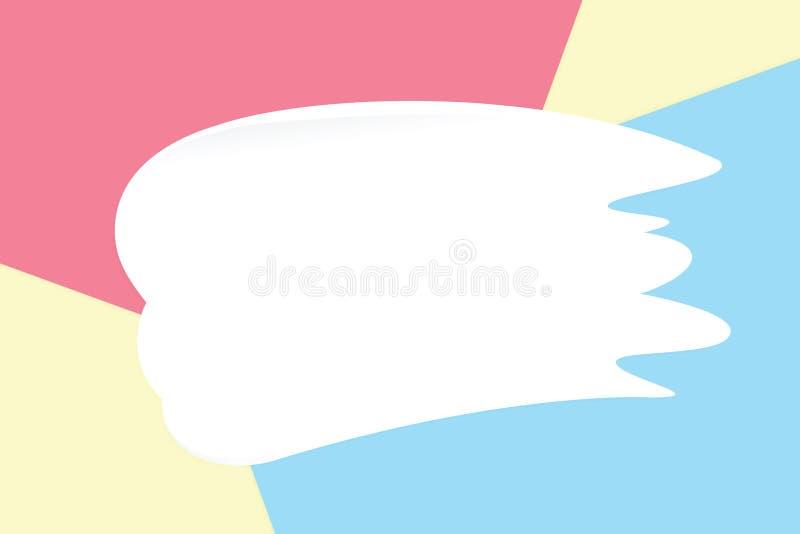 De witte vlekkenroom op kleurrijke pastelkleur zachte document schoonheidsmiddelen als achtergrond voor exemplaar ruimtebericht,  vector illustratie