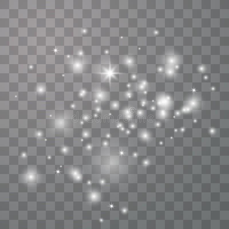 De witte vonken schitteren speciaal licht royalty-vrije illustratie