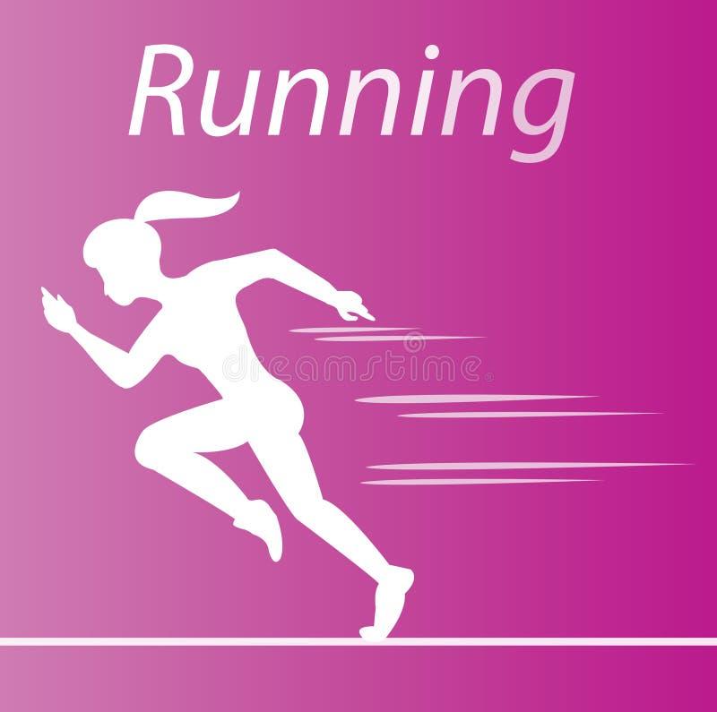De witte vrouw die op roze gradiëntachtergrond lopen vector illustratie