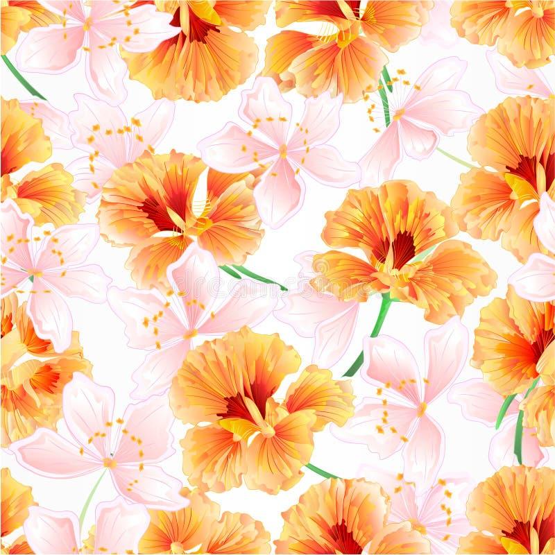 De witte waterkers van de de lentebloem en sakura uitstekende vector editable illustratie natuurlijke als achtergrond vector illustratie